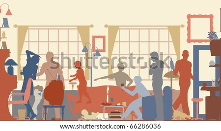Illustrated silhouettes of a family gathering in a living room