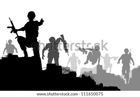 Illustrated silhouettes of armed soldiers charging forward