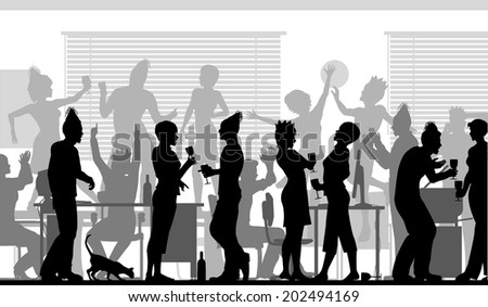 Illustrated silhouettes of business people at an office party - stock photo