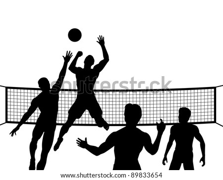 Illustrated silhouettes of four men playing beach volleyball - stock photo