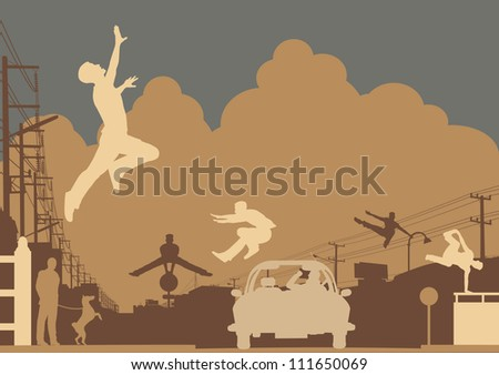 Illustrated silhouettes of men doing parkour in an urban street scene - stock photo