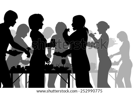 Illustrated silhouettes of people enjoying a buffet - stock photo