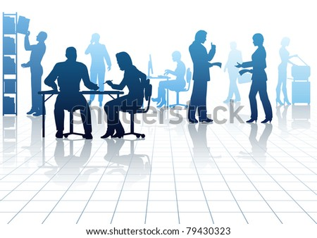 Illustrated silhouettes of people in a busy office with reflections