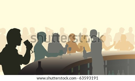 Illustrated silhouettes of people in a wine bar - stock photo