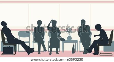 Illustrated silhouettes of people sitting in a waiting room - stock photo