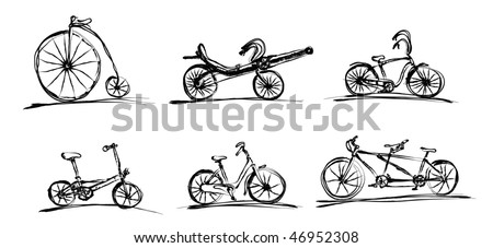 Illustrated simple bikes - sketch style