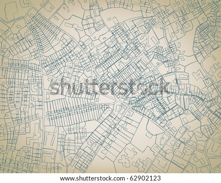 Illustrated sketch blueprint of a detailed generic street map without names - stock photo