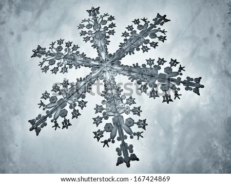 Illustrated snowflake, referring to concepts such as wintertime, snow, cold weather, meteorology, as well as Christmas and New Years Eve - stock photo