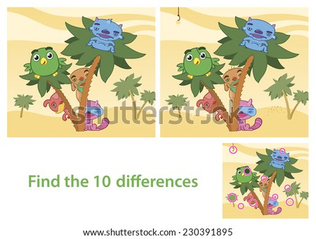 Illustrated Spot the Differences Skill Game with Answer Image Featuring Animals Cartoon Characters - stock photo