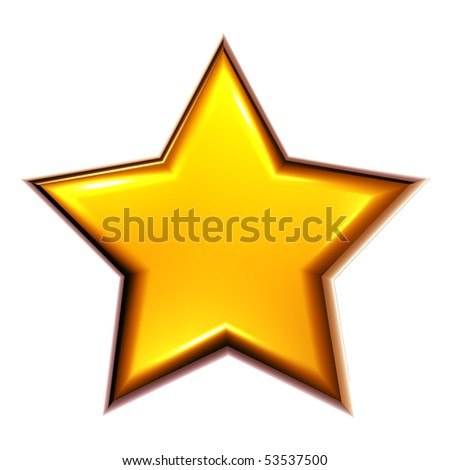 Illustrated star in golden color