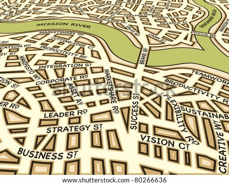 Illustrated street map of a generic city with business street names - stock photo