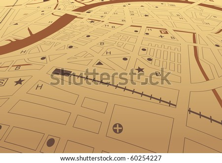 Illustrated street map of a generic city with no names - stock photo
