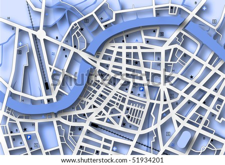 Illustrated streetmap of a generic city with no names - stock photo