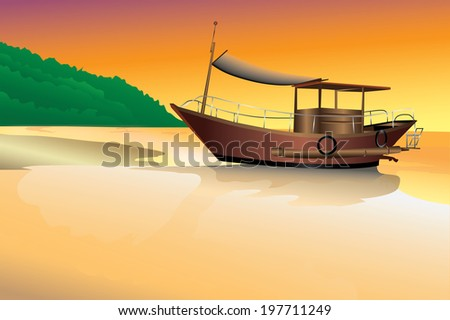 Illustrated with fishing boats at sunset.