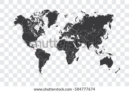 Illustrated world map selected country shape stock illustration illustrated world map with the selected country shape of costa rica gumiabroncs Images