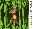 illustration, a brown monkey in the jungle - stock photo