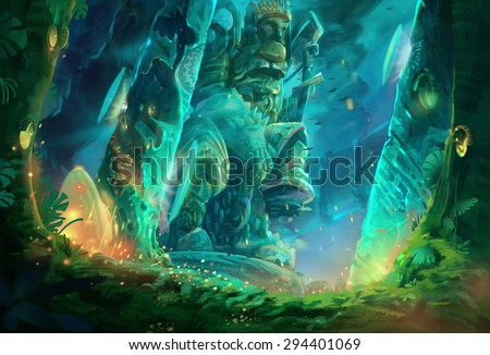 Illustration: A cave full of mysterious and forbidden aura. It must be a tomb of an ancient king. Removed the characters. Fantastic / Realistic / Cartoon Style, Wallpaper / Background / Scene Design. - stock photo