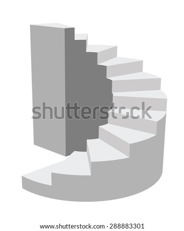 Illustration a circular staircase leading up. In the style of 3D. Isolated.