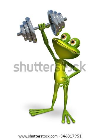 Illustration a frog doing gymnastics sport dumbbells - stock photo