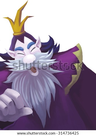 Illustration: A Kind King of Viking with Crown; Dwarf King; Big beard. Fantastic Cartoon Style Character Design.  - stock photo