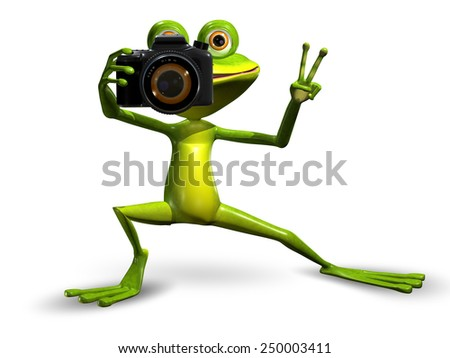 Illustration a Merry Green Frog with a Camera - stock photo
