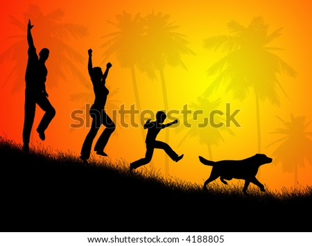 Illustration about happy family in the rural landscape - stock photo
