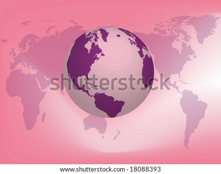 Illustration about the earth on the earth map background - stock photo