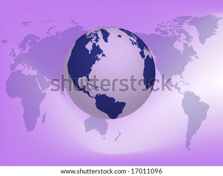 Illustration about the earth on the map background - stock photo