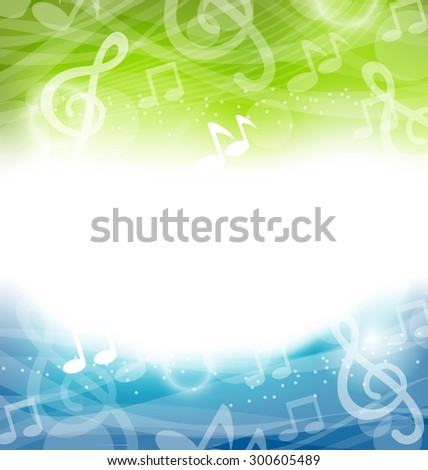 Illustration Abstract Art Background with Musical Elements, Copy Space for Your Text - raster - stock photo