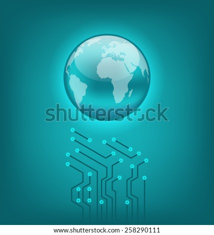 Illustration abstract background with circuit board and earth symbol - raster - stock photo
