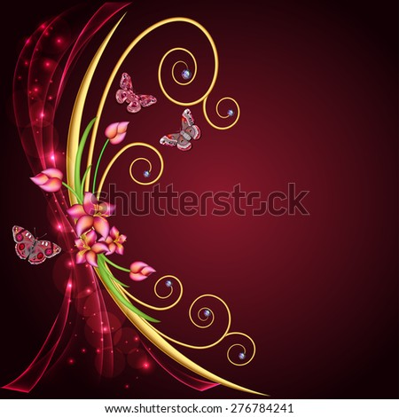 illustration abstract background with flowers and butterflies with gems - stock photo