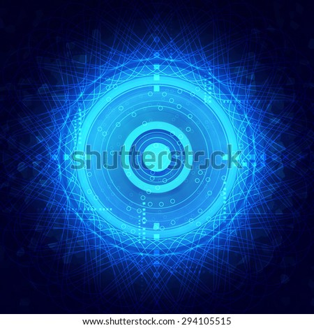 Illustration abstract circle technology background, brain wave concept - stock photo