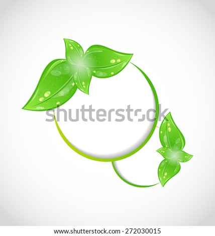 Illustration abstract frame with eco green leaves - raster - stock photo
