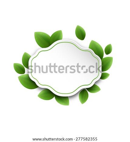 Illustration abstract label with eco green leaves, isolated on white background - raster - stock photo