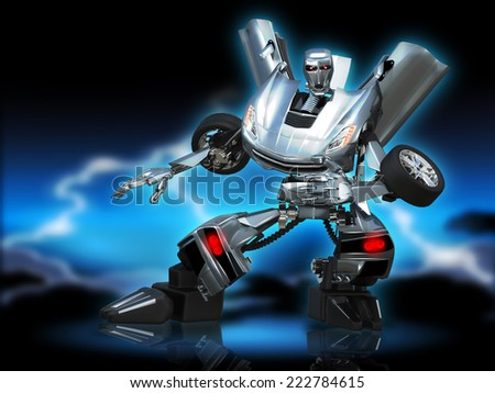 illustration  abstract metal robot  car on blue - stock photo