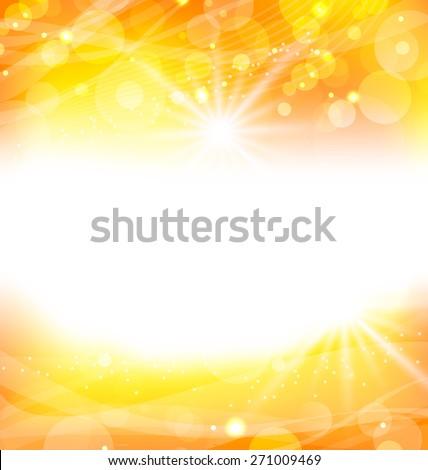 Illustration abstract orange background with sun light rays - raster - stock photo