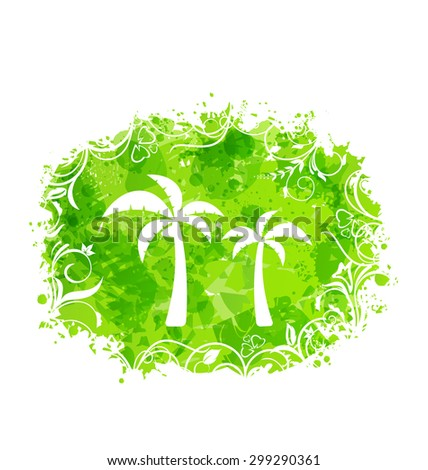 Illustration Abstract Stain Frame with Palm Trees, Holiday grunge Background - raster - stock photo