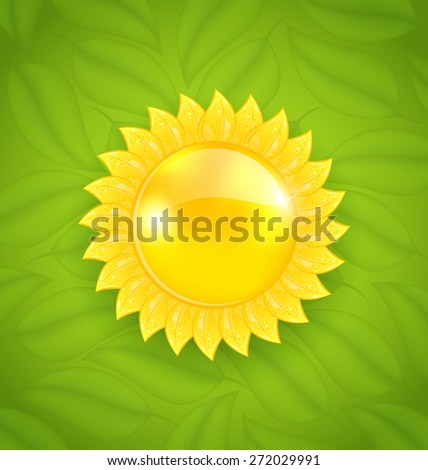 Illustration abstract sun on green leaves texture, eco friendly background - raster - stock photo