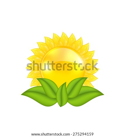 Illustration abstract sun with green leaves, isolated on white background - raster - stock photo