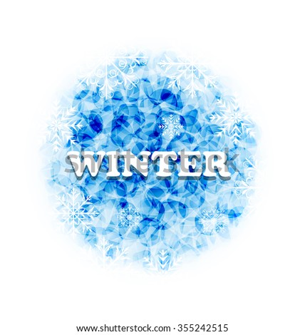 Illustration Abstract Winter Background with Set Snowflakes - raster - stock photo