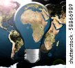 Illustration Africa in lightbulb with wold map background - stock vector