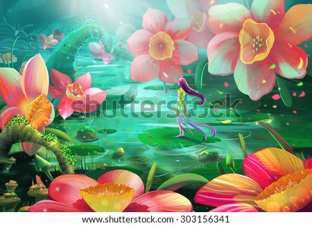 Illustration: All a Frustrated Fairy needed is just a Peaceful Place with Water and Flowers to stay alone. Realistic / Cartoon Style. Fantasy Topic. Scene / Wallpaper / Background Design. - stock photo
