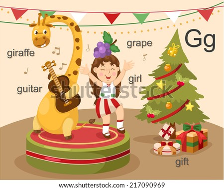 illustration alphabet.G letter-giraffe,guitar,girl,grape,gift. EPS vector version id 177174176.format also available in my portfolio - stock photo