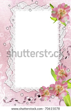 Illustration and image composition of pink orchids and lace frame - stock photo