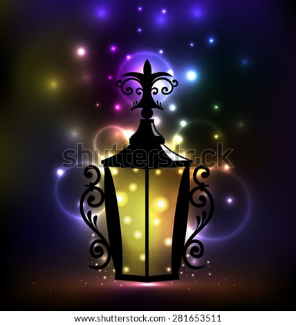 Illustration arabic forging lantern for Ramadan Kareem - raster - stock photo