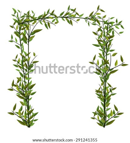Illustration Arch Twined Bamboo Branch with Green Leafs isolated on white - raster - stock photo
