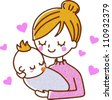 Illustration baby mother - stock vector