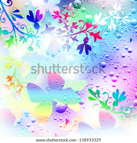 Illustration. Background. Flowers and butterflies. Raindrops. - stock photo