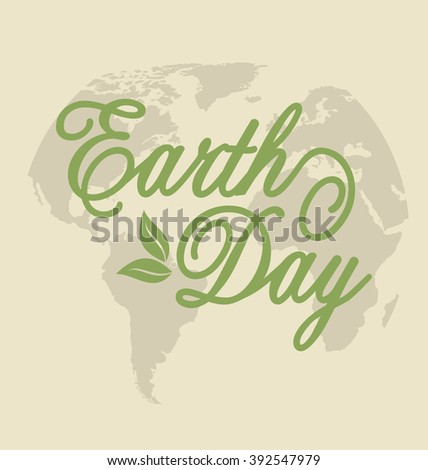 Illustration Background for Earth Day Holiday, Lettering Text. Retro Style - raster - stock photo