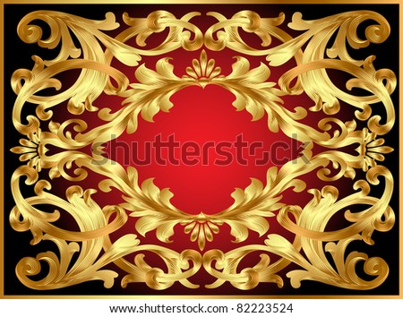 illustration background frame with gold  pattern - stock photo